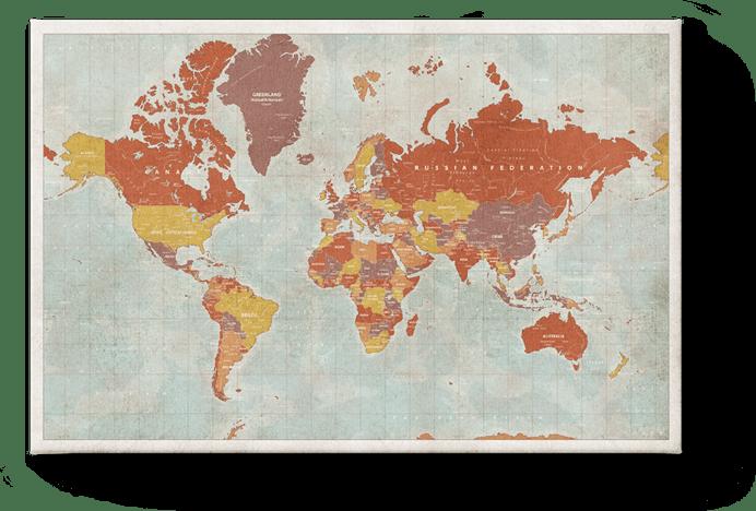 Carte du monde vintage rouge
