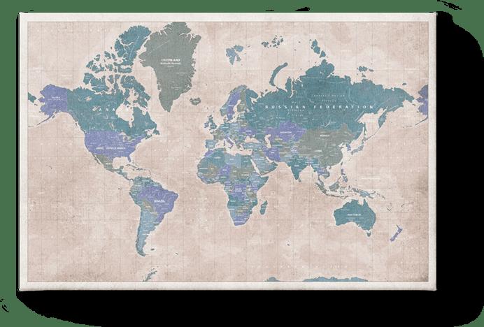 Carte du monde vintage bleue