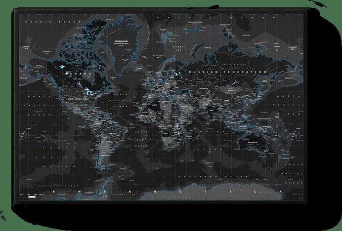 Carte de monde Black Ice